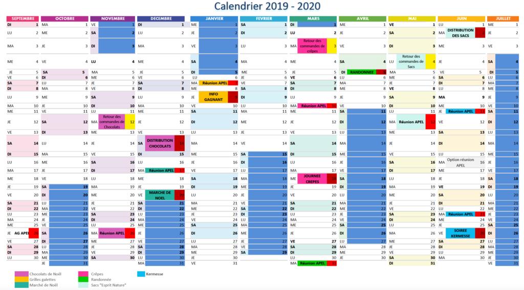 Calendrier APEL 2019-2020